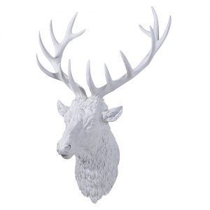 LG WHITE STAG HEAD WALL DECO