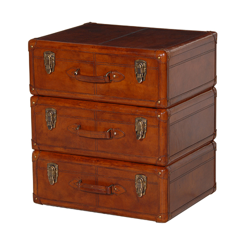 3 SUITCASE LEATHER CHEST