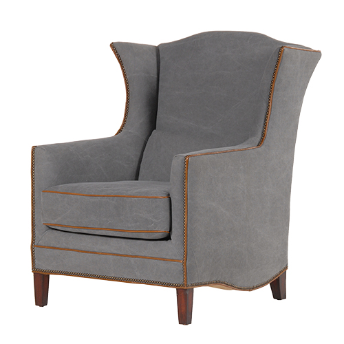 GREY WING CHAIR BRN PIPING