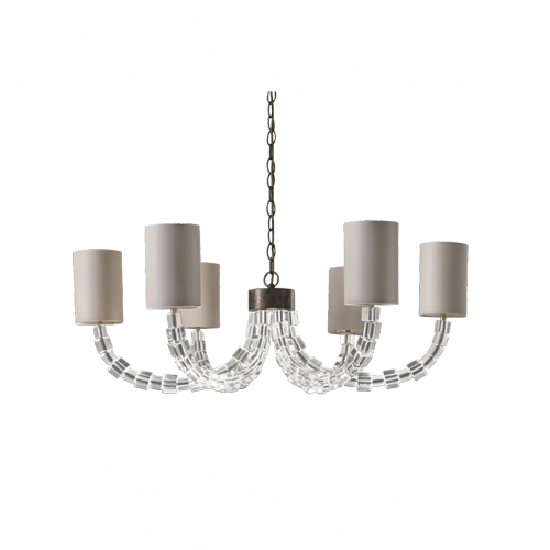 MCL13 - ROUND LARTIGUE CHANDELIER - CLEAR CRYSTAL WITH BURNT SILVER