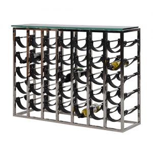 METAL/LEATHER WINE RACK