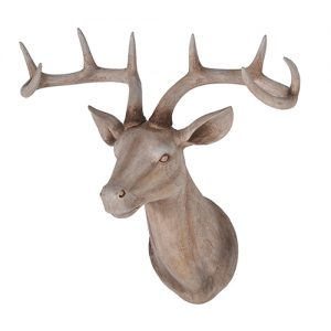 WOOD EFF DEER HEAD