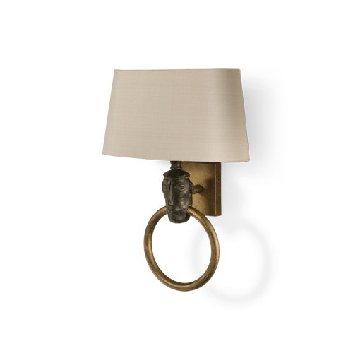 TWL22 - AFRICAN HEAD WALL LIGHT - SAMBURU BLACK WITH GOLD