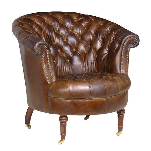 Brown Leather Button Club A.Chair