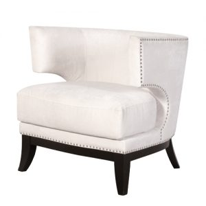 Cream Studded Mod.Arm Chair