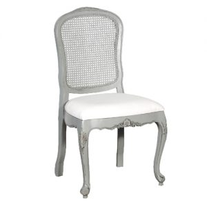 Grey Fayence Rattan Dining Chair
