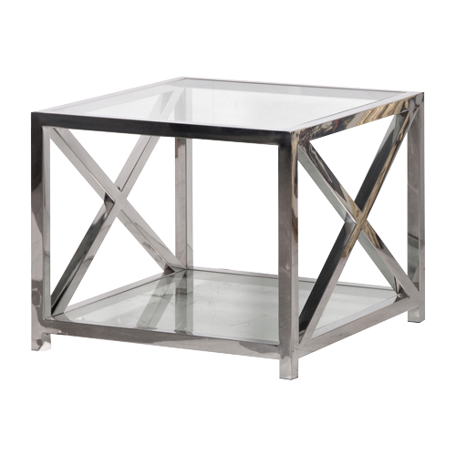 SQ Glass Steel End Table