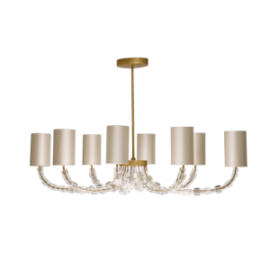 MCL11 - OVAL LARTIGUE CHANDELIER - CLEAR CRYSTAL WITH FRENCH BRASS