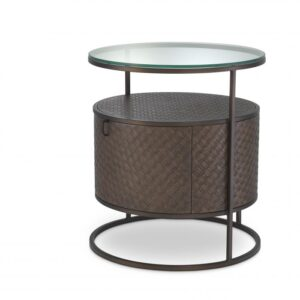 Pairing Bauhaus style with a Mid-Century Modern look, the tapered Napa Valley Side Table showcases a sleek stainless steel frame, a clear glass tabletop and a drum-shaped centrepiece that is lined with woven oak veneer, containing a drawer with a stainless steel handle.